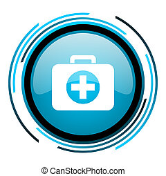 first aid kit blue circle glossy icon