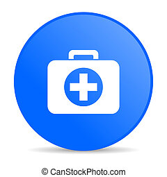 first aid kit blue circle web glossy icon
