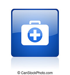 first aid kit blue square glossy web icon on white background