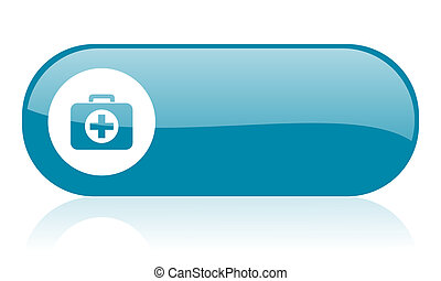 first aid kit blue web glossy icon
