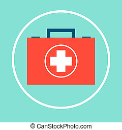 first aid kit box icon in circle
