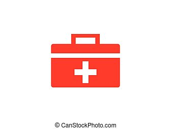 first aid kit box, vector icon