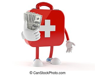First aid kit character with money