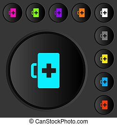 First aid kit dark push buttons with color icons