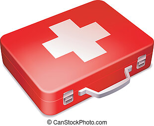 First aid kit. - First aid kit on white background.