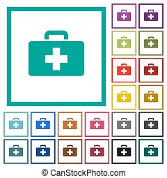 First aid kit flat color icons with quadrant frames