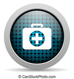 first aid kit glossy icon