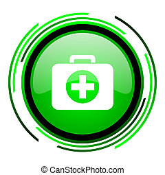 first aid kit green circle glossy icon