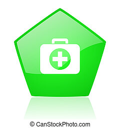 first aid kit green pentagon web glossy icon