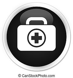 First aid kit icon black glossy round button