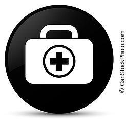 First aid kit icon black round button