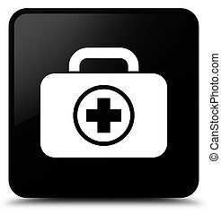 First aid kit icon black square button