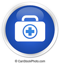First aid kit icon blue button