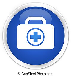 First aid kit icon blue glossy round button