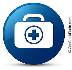 First aid kit icon blue round button