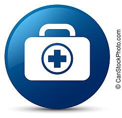 First aid kit icon blue round button