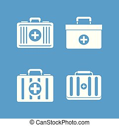 First aid kit icon blue set vector