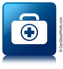 First aid kit icon blue square button