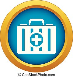 First aid kit icon blue vector isolated