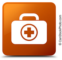 First aid kit icon brown square button
