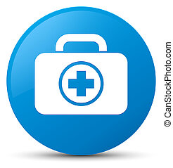 First aid kit icon cyan blue round button