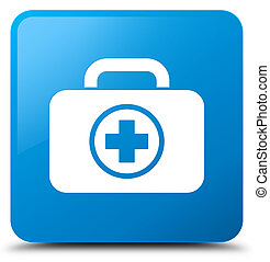 First aid kit icon cyan blue square button
