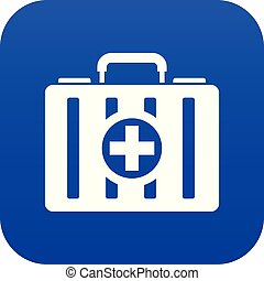 First aid kit icon digital blue