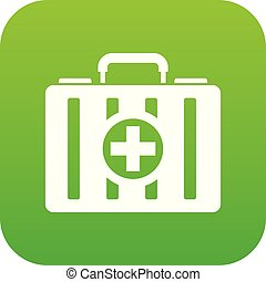 First aid kit icon digital green