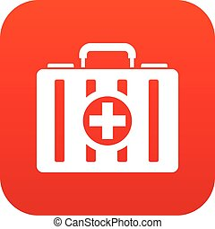 First aid kit icon digital red