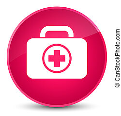 First aid kit icon elegant pink round button
