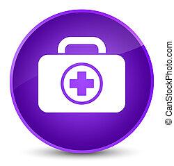 First aid kit icon elegant purple round button