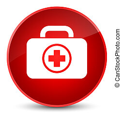 First aid kit icon elegant red round button