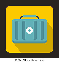 First aid kit icon, flat style