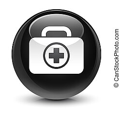 First aid kit icon glassy black round button