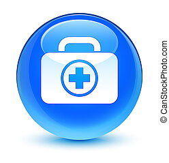 First aid kit icon glassy cyan blue round button