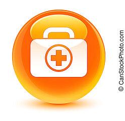 First aid kit icon glassy orange round button