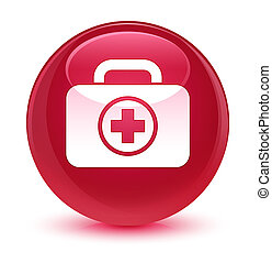 First aid kit icon glassy pink round button