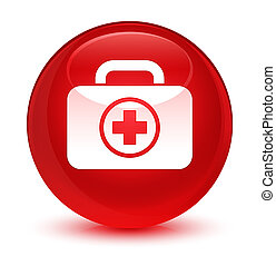 First aid kit icon glassy red round button