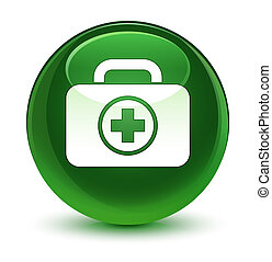 First aid kit icon glassy soft green round button
