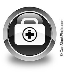 First aid kit icon glossy black round button