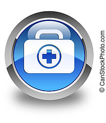 First aid kit icon glossy blue round button