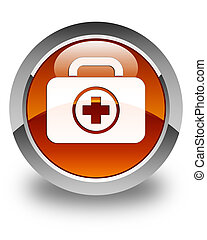 First aid kit icon glossy brown round button