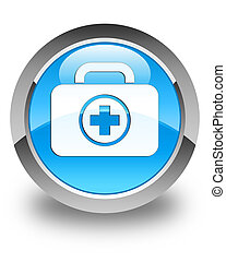 First aid kit icon glossy cyan blue round button