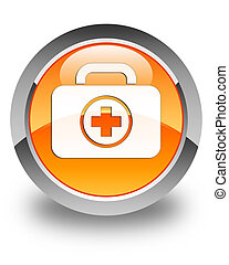First aid kit icon glossy orange round button