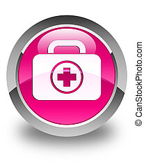 First aid kit icon glossy pink round button