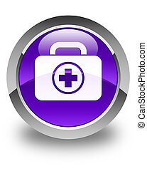 First aid kit icon glossy purple round button