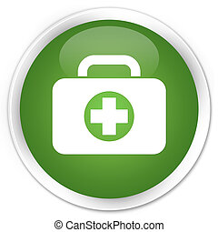 First aid kit icon green button