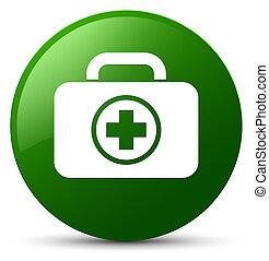 First aid kit icon green round button
