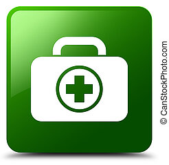 First aid kit icon green square button