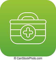 First aid kit icon green vector